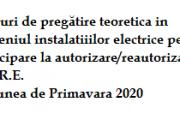 Cursuri de pregătire teoretică în domeniul instalațiilor electrice pentru participare la autorizare/reautorizare A.N.R.E.