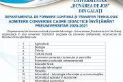 Admitere  programe conversie 2020